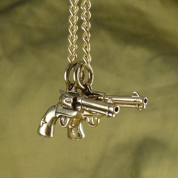 "Gun Necklace Bronze Pistol Pendant on 24"" Gold Plated Chain"
