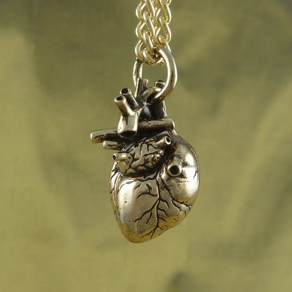 "Anatomical Heart Necklace - Bronze Anatomical Heart Pendant on 24"" Gold Plated Chain"