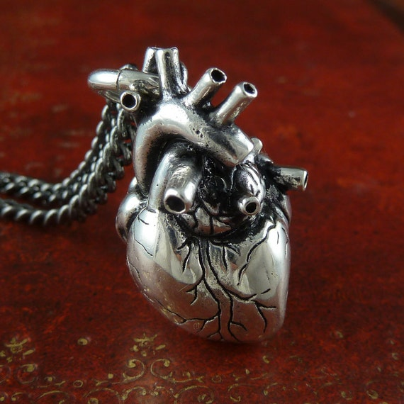Anatomical Heart Necklace Antique Silver Anatomical Heart on 32