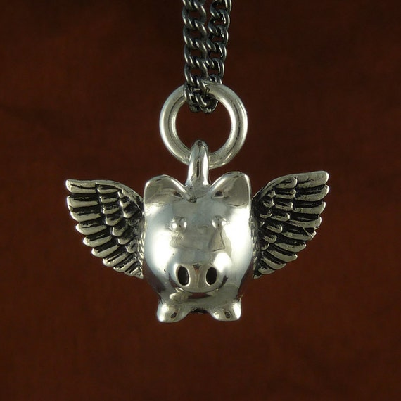 """Flying Pig Necklace Antique Silver Flying Pig Pendant Necklace on 18"""" Gunmetal Chain"""