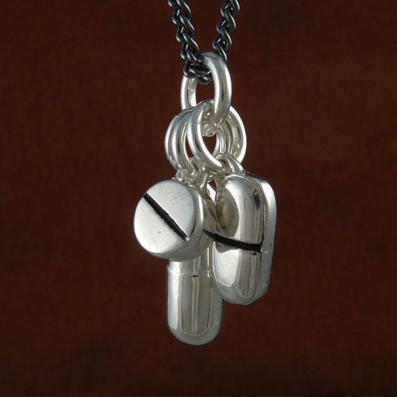 """Pills Necklace Antique Silver Pill Pendant Necklace on 24"""" Gunmetal Chain"""