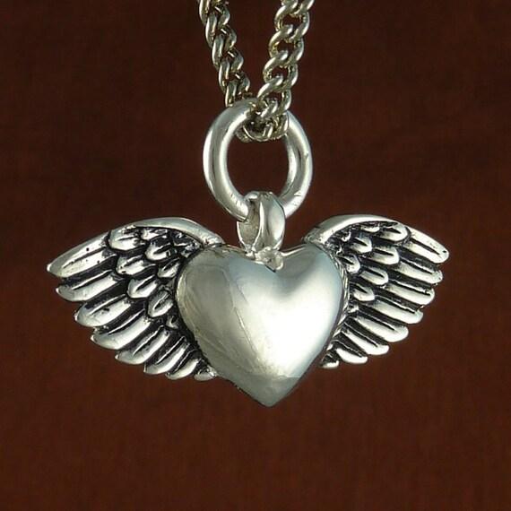 "Valentine Heart Necklace Antique Silver Romantic Flying Heart Pendant Necklace on 24"" Antique Silver Chain"