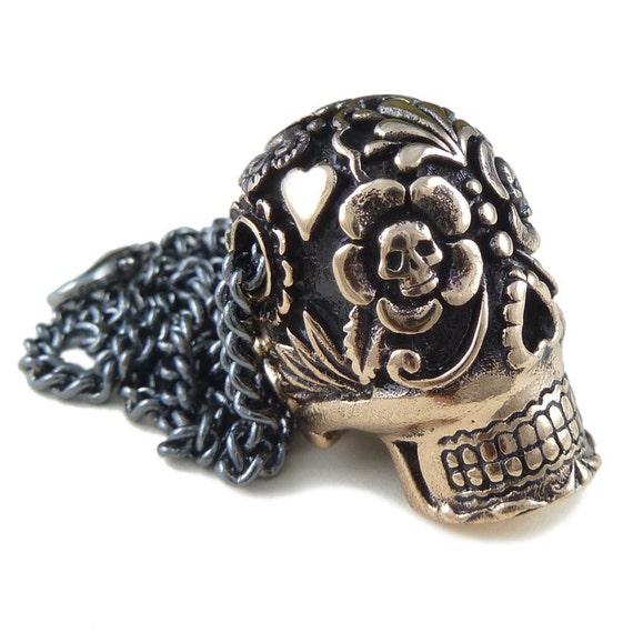 "Sugar Skull Necklace Bronze Sugar Skull Pendant on 24"" Gunmetal Chain"