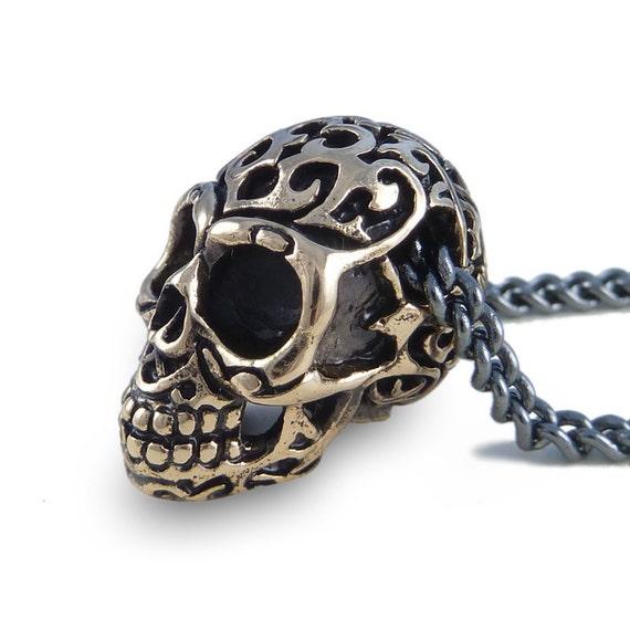 "Skull Necklace Bronze Human Skull Pendant with Tribal Design on 32"" Gunmetal Chain"