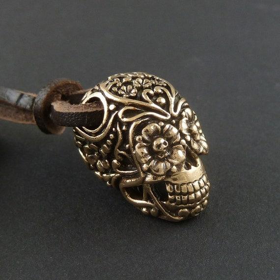 Day of the Dead Necklace Sugar Skull Pendant - Bronze, on Leather - Dia de los Muertos