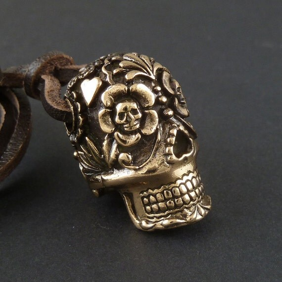 Sugar Skull Pendant, Large - Sugar Skull Necklace on Leather - Day of the Dead