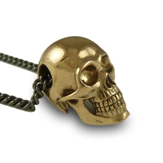 "Human Skull Necklace Bronze Human Skull Pendant on 24"" Gunmetal Chain"