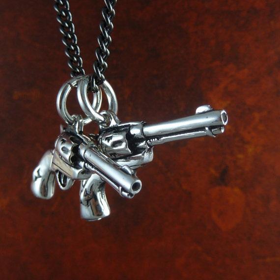 "Gun Necklace Antique Silver Pistol Pendant on 24"" Gunmetal Chain - Gun Jewelry"