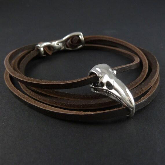 Skull Bracelet Antique Silver Bird Skull Leather Bracelet