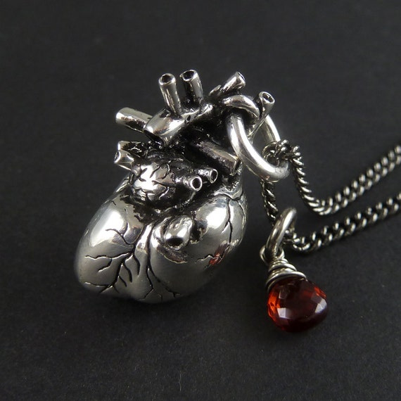 """Anatomical Heart Necklace with Sterling Silver Wire Wrapped Garnet - Antique Silver Anatomical Heart Pendant on 24"""" Gunmetal Chain"""