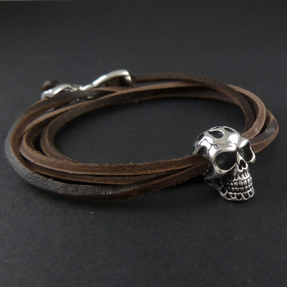 Flaming Skull Bracelet Antique Silver Human Skull Leather Bracelet