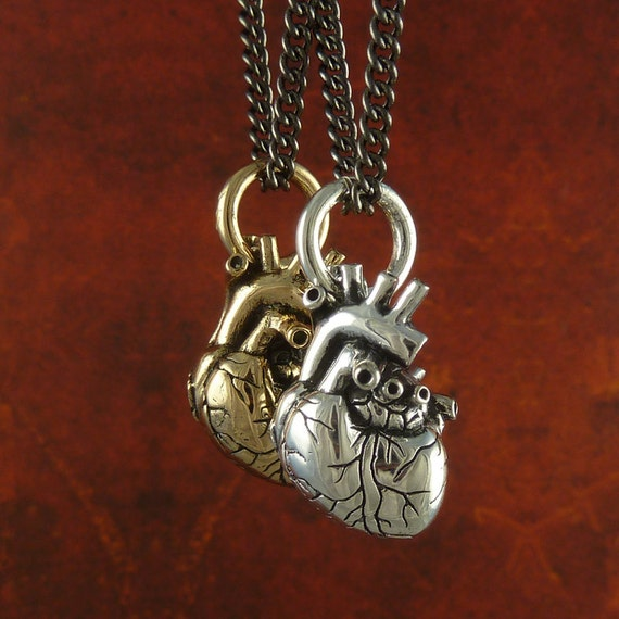 """Anatomical Heart Necklaces - Small Size -  Antique Silver & Bronze Small Anatomical Heart Pendants on 24"""" Gunmetal Chain - Valentines Day"""