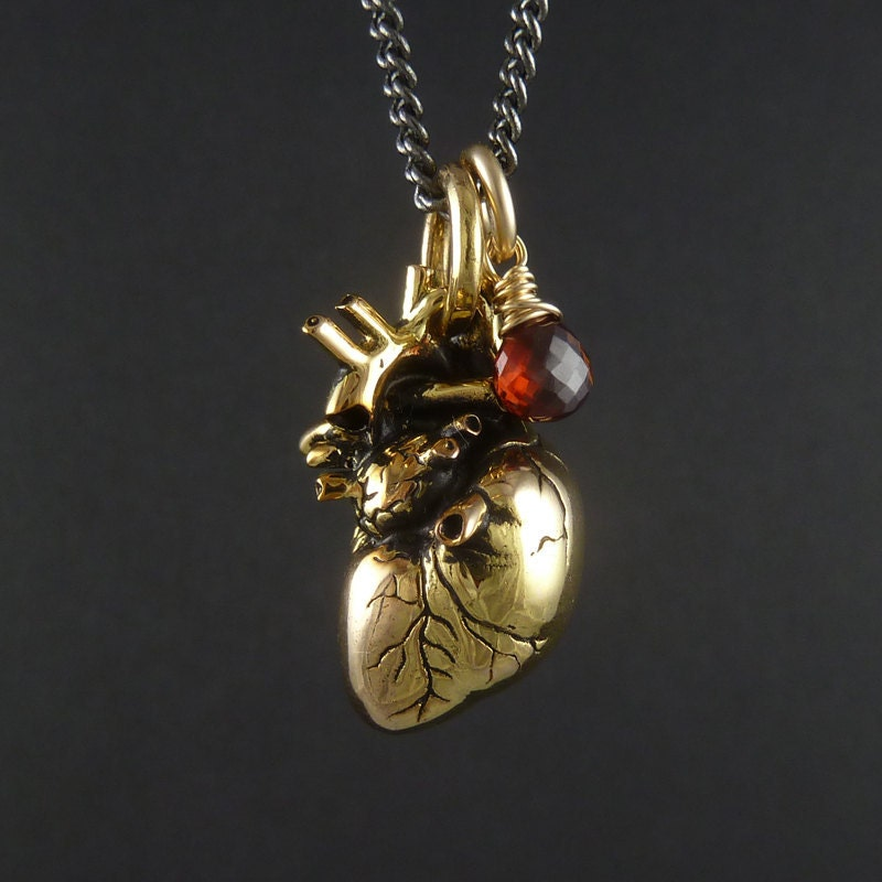 Anatomical Heart Necklace 24 Karat Gold Plated Heart Pendant