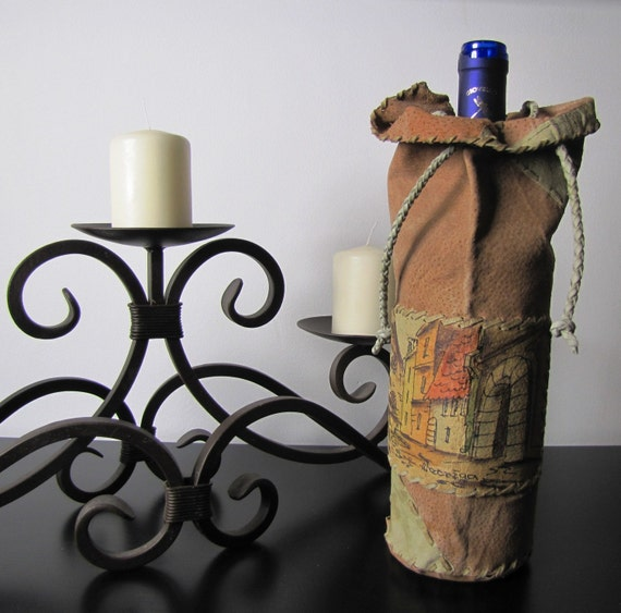PERSONALIZED WINE : ADD a WoW  To Any Bottle of  Wine, Even Magnum With This Unique  Bottle Handmade Leather Cover