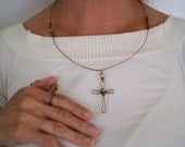 Cross Necklace Handcrafted from Copper Wire and Glass Beads, Free Matching Ring