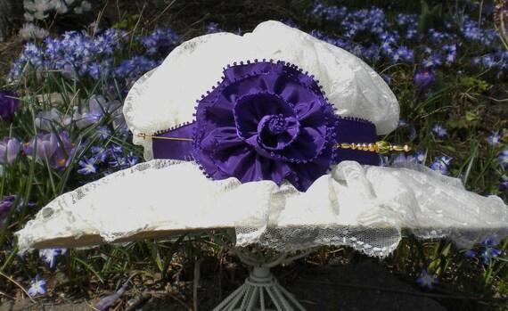 Purple Taffeta Ribbon Rose And Hatpin