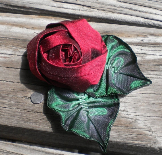 Ribbonwork Dark Cherry Red Silk Rose Pin