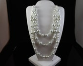 Three Strand Swarovski Pearl Necklace with Swarovski Rhondelle Crystals