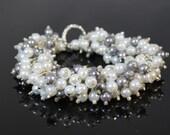 Pearl Bracelet , White and Tahitian Pearl Cluster Bracelet, Ivory Bridal Jewelry, Wedding Bracelet, Bridesmaid Bracelet, Swarovski  Pearls