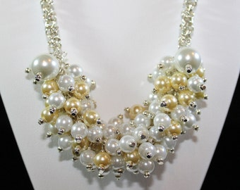 Bridal Necklace with White and Crystal Gold Swraovski Pearls on Byzantine Chain