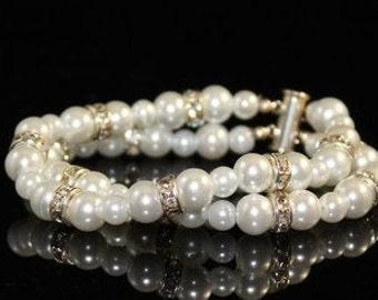 White Swarovski Pearl Double Stand Bridal Bracelet with Silver Plated Clear Rhinestone Spacers, Bridesmaids Bracelet, Wedding Bracelet