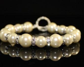 Swarovski Crystal Pearls Bracelet with Rhinestones, Wedding Bracelet, Bridesmaids Bracelet, Pearl Bracelet