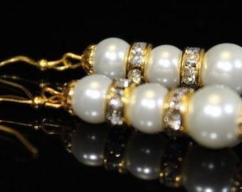 Gold Tone Swarovski Pearl Earrings With Crystal Gold Tone Rhinestone Spacers