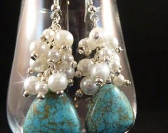 Bridal Cluster Earrings with Turquoise and White Swarovski Pearls, Bridal Earrings, Bridesmaid Earrings, Wedding Earrings