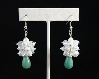 Green Jade Cluster Earrings with Swarovski Pearls and Crystals