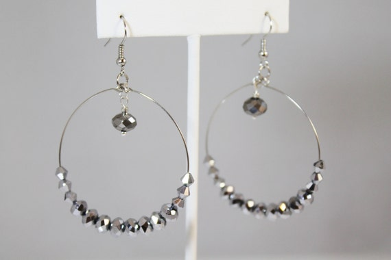 Hoop Earrings with Jet AB Crystals