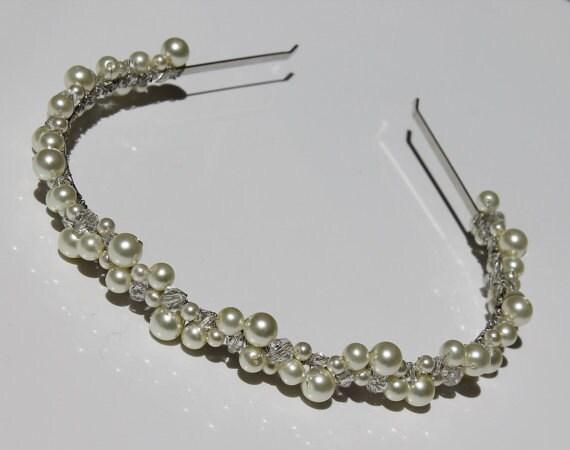 FULL MOON Bridal Tiara Band / Headband with CREAM Swarovski Pearls and Crystals