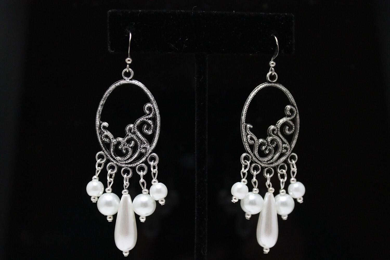 Dangling Pearl Earrings on Chandelier Dangling Pearl Earrings By Janettajewelry On Etsy