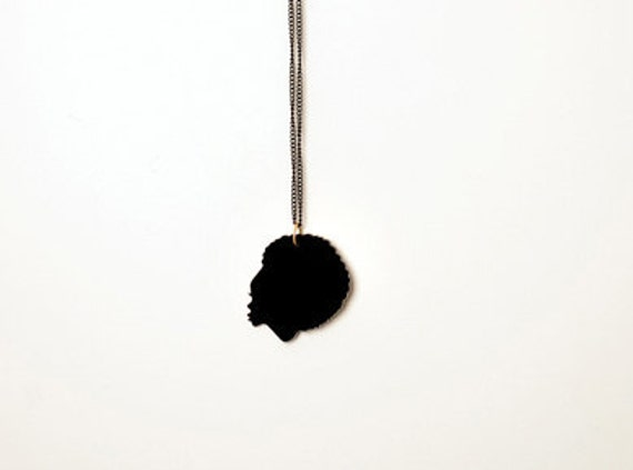 Soul Sista Silhouette Necklace - Laser Cut Black Acrylic Pendant, Gold or Black Plated Chain