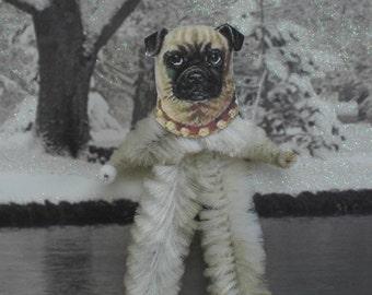 PUG DOG Vintage Style Chenille Christmas Ornaments ~ Set of 3 ~ Old World Charm & Nostalgia!