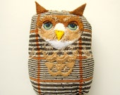 Owl Softie - OOAK Art Doll - Embroidered Owl