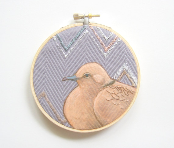 Embroidery hoop art, chevron dove