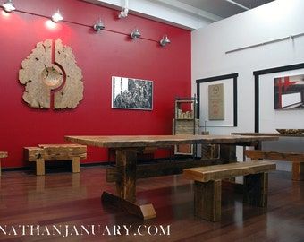 Reclaimed Timber-Frame Trestle Table, Farm Table -- Custom Item