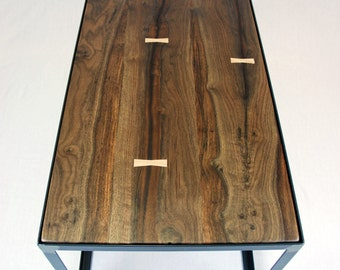 Salvaged Black Walnut Industrial Coffee Table
