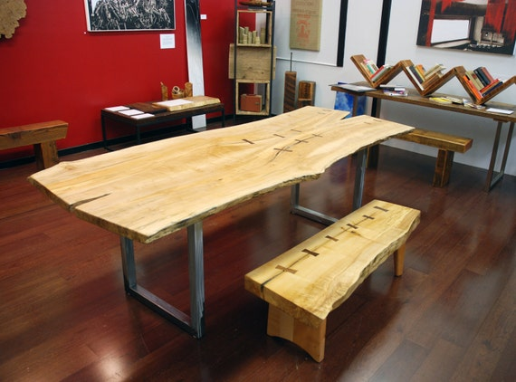 Natural Edge Salvaged Maple Slab Dining Table with Walnut Butterflys