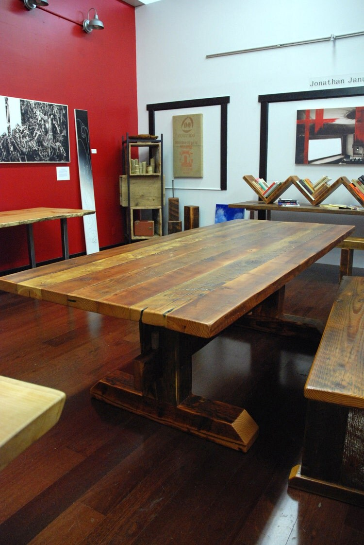 Reclaimed Timber-Frame Trestle Table Farm Table by ...