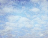 50% OFF SALE on In Stock Prints - Clouds - Fine Art Photography Sky Blue Purple White Fluffy Texture Metallic Finish - 8x10