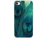 Teal Peacock Feather iPhone Case - iPhone 4 and 4s Case, Decorative Cover, Bird Feathers, Peacock Feathers, Girly, Blue, Green, Navy
