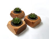 Hand-Crafted Wood Candle Holders - Set of 3 - Solid Oak - Made to Order