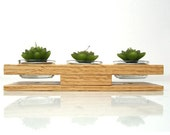 I Shaped Hand-Crafted Wood Candle / Pot Holder - 3 Holes with glass containers -  Solid Oak - Made to Order