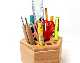 Unique Hexagon Handmade Stationery Organizer / Tools Holder - Rotatable  - Solid Oak