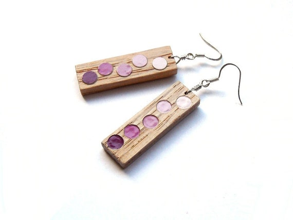 Wooden Earrings - Circle spots - Blue / Green / Red / Purple - Lead and Nickel Free Earwires.