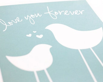 Love Birds with your custom message or initials Art Print / Choose your Colors  / 8x10 / Wall Art Poster