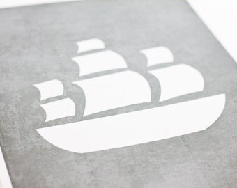 Ship Art Print / Nautical Nursery Wall Art / 8x10 / Custom Colors & Sizes