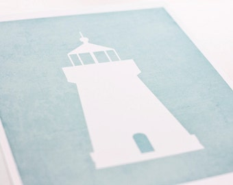 Lighthouse Art Print / Nautical Nursery Wall Art Poster / 8x10 / Choose your background color and pattern