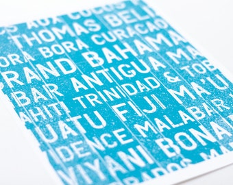 Tropical Island Bus Roll Art Print / Choose your Color / 8x10 / Typography Wall Art Poster